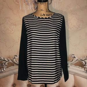 Striped Zip Up Blouse